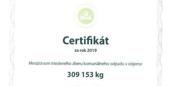 Mesto získalo certifikát za triedený zber odpadu